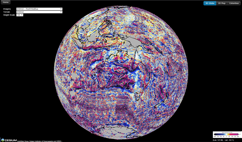 Magnetic Anomaly Map Of The World.Emag2 Earth Magnetic Anomaly Grid